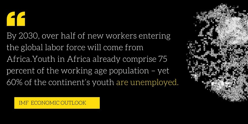 Africa is home to the youngest population on the planet; over 200 million people are between the ages of 15 to 24 years• By 2030, over half of new workers entering the global labor force will come from Afri (1).jpg