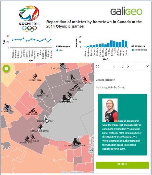 Impression d'une carte géo-décisionnelle dans SAP Businessobjects
