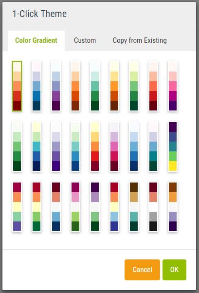 Palette de couleurs prédéfinies et personnalisables